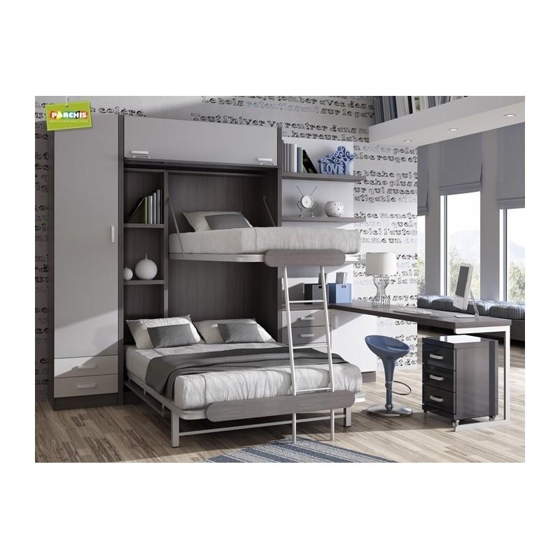 Camas literas abatibles verticales triple camas literas for Dormitorios con literas