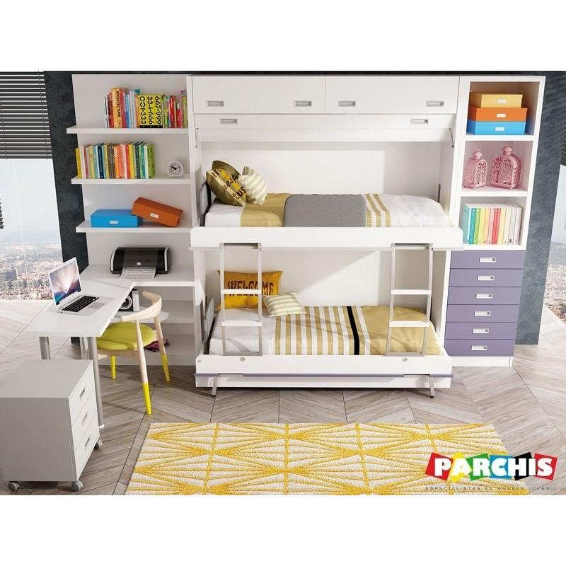 Camas literas abatibles horizontales camas literas for Cama 80x180